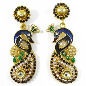 Traditional Indian Jewellery Peacock Design Dangle Earring Set