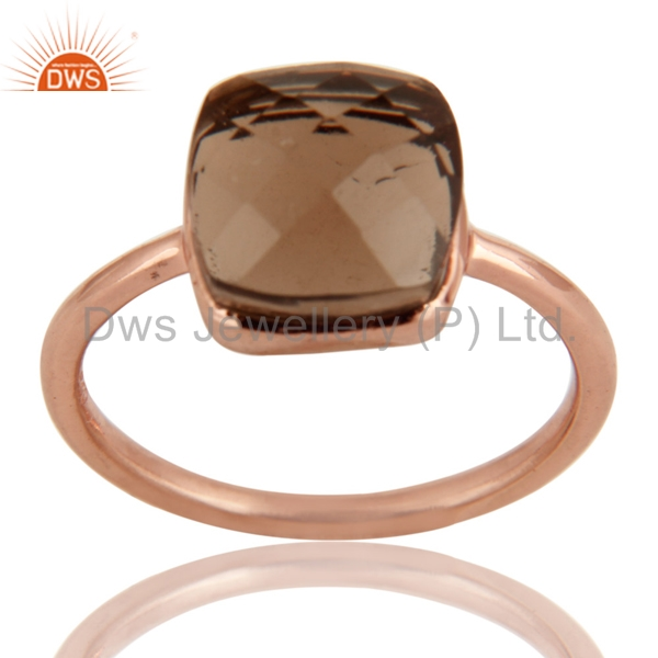 925 Sterling Silver Gemstone Ring Jewelry Manufacturer Smoky Quartz Rose Gold Plated Ring Distributer
