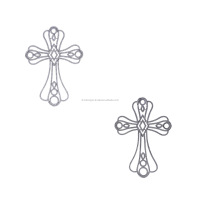 Filigree Cross Pave Diamond Jewelry Collection Sterling Silver Pendant