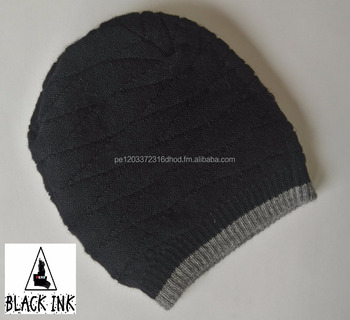 6d1955002b0bf7 100% Alpaca Wool Reversible Beanie Hat for Men extra warm extreme cold  weather
