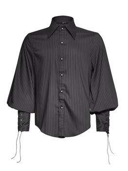 Y-719 Punk Rave Men's Black Steampunk Stripped Bishop Sleeve Shirt ...