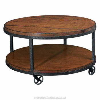 Metal Wood Round Coffee Table