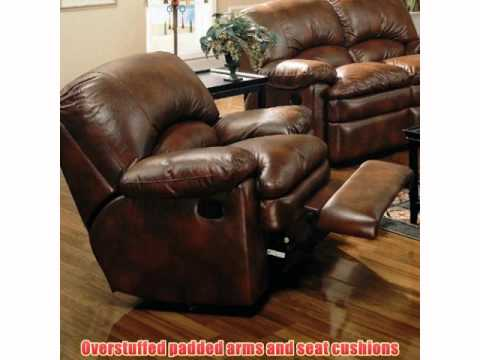 Coaster Walter Leather Rocker Recliner Brown Bonded Leather