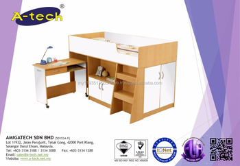 A Tech Bd 8100 Wooden Children Bunk Bed With Desk With Bunk Bed
