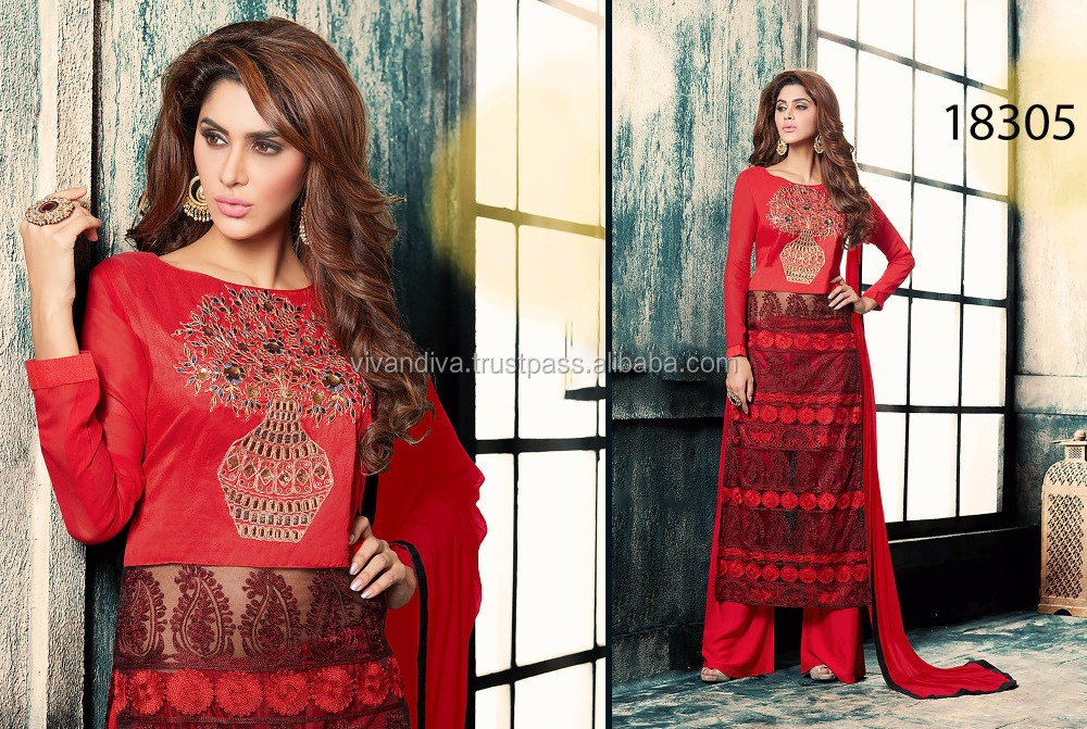 Red Color Plazzo Style Salwar Suit for Surat