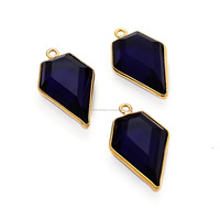 Blue Sapphire Quartz Gold Plated Sterling Silver Bezel Station C Stone Gemstone Connector Bezal Set Connector
