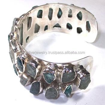 925 Silver Cuff Bracelet Natural Rough Stone Indian Jewelry