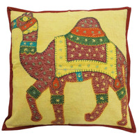 Mustard Cushion Cover Tradition Patchwork Camel Design Sofa Pillowcase Gift. PL15239