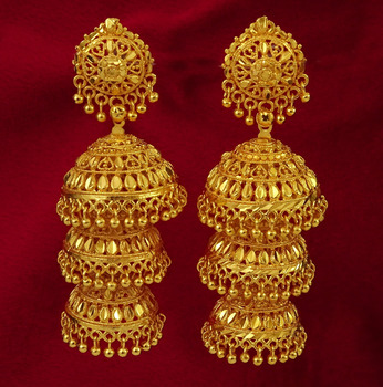 traditional 18k gold plated jhumka dangle earring set