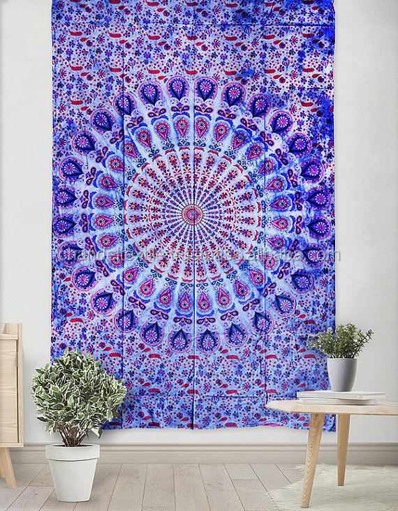 Blue Floral Tapestry Blue Floral Wall Hanging Hippie Large Blue ombre mandala beach throw tapestry Floral mandala Tapestries