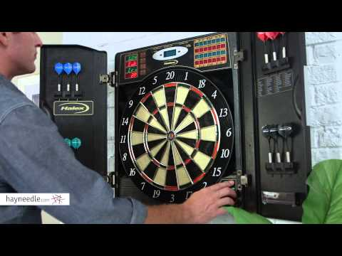 Halex Madison BristleTech Electronic Dart Board with Contemporary Cabinet - Product Review Video