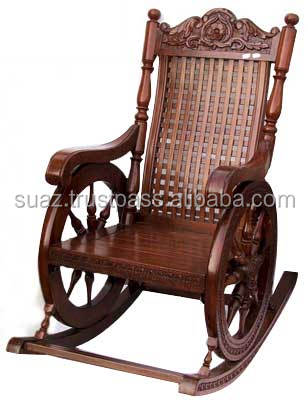 Wooden Rocking Chairs Carving Swing