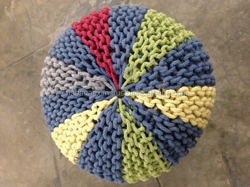 Crocheted poufs ottomans and stools