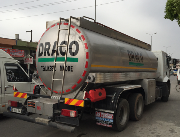 STAINLESS STEEL ROAD TANKER ON TRUCK