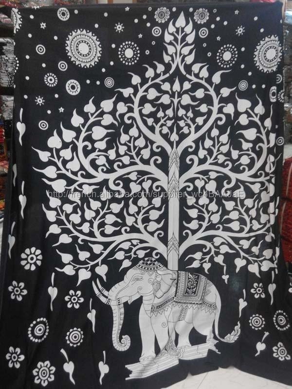 Tapisserie Murale Inde Hippie Éléphant Mandala Couvre-lit Ethnique Jeté De Lit