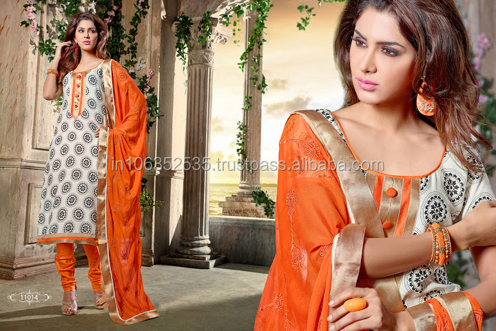 Wholesale Off White Cotton Designer Churidar Suit For daily Wear