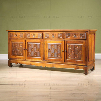Hand Carving Teak Wood Four Door Four Drawers Side Cabinet Living Room  Furniture Part 26