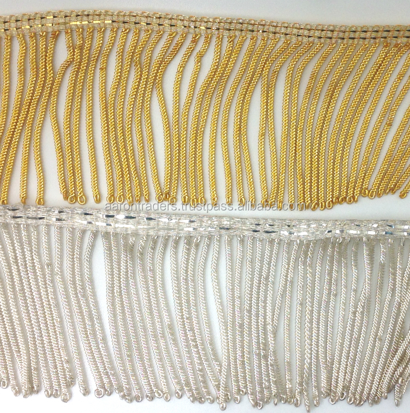 "GOLD BULLION FRINGES | BULLION WIRE FRINGE IN BRIGHT ""LUREX"" GOLD AND SILVER"