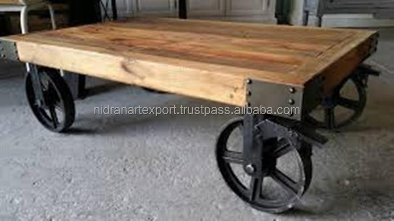 Industrial Furniture Metal U0026 Wooden Cart Coffee Table With Wheel   Buy  Wooden Coffee Tables,Living Room Wood Coffee Tables With Wheels,Rotating  Coffee ...