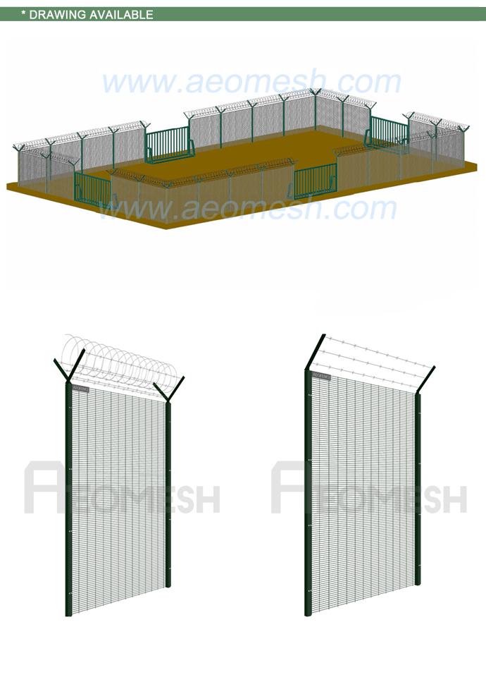 Powder Coated Welded Wire Mesh Garden Fencing Panel / Pvc Outdoor ...