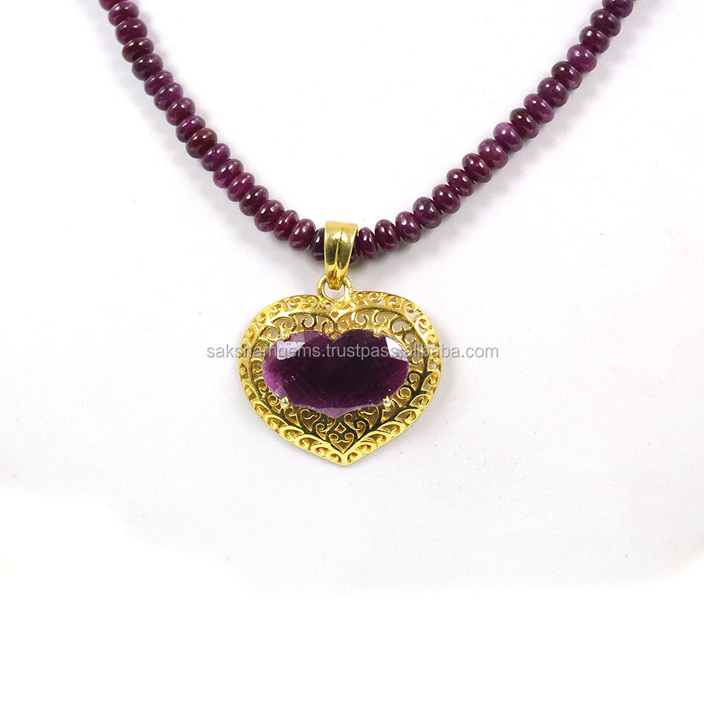 925 Sterling Silver African Natural Ruby Gemstone Beads Necklace with Heart Shape Ruby Pendant Women Jewelry Set