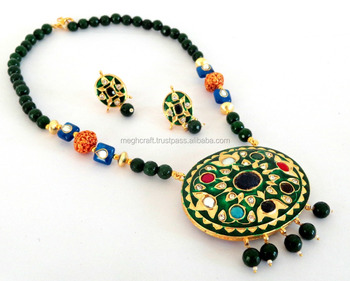 South indian handmade beaded long necklace set navratna handmade south indian handmade beaded long necklace set navratna handmade necklace set indo western style mozeypictures Image collections