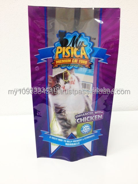 lovely cat food treats plastic bag, cat food packaging bag with side gusset and center seal,pet food with window bag