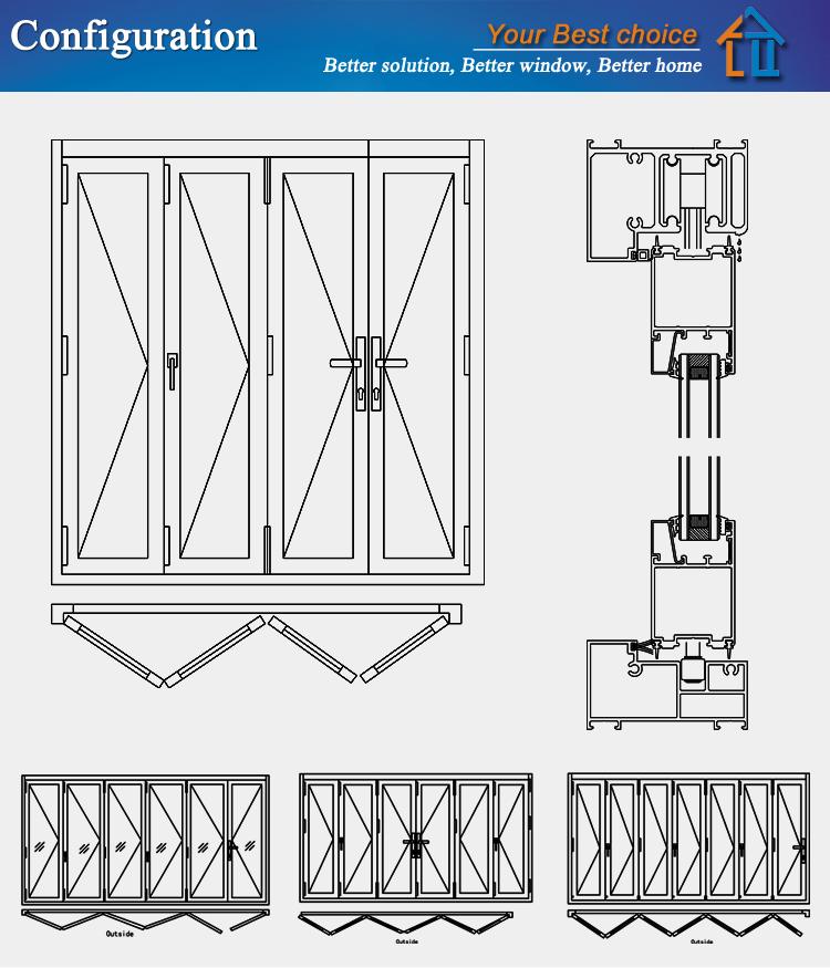China Suppliers Double Glass Interior Doors Folding Door Toilet ...