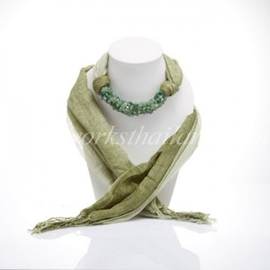 Olive-Green Two Tone Scarf Decorated With Aventurine
