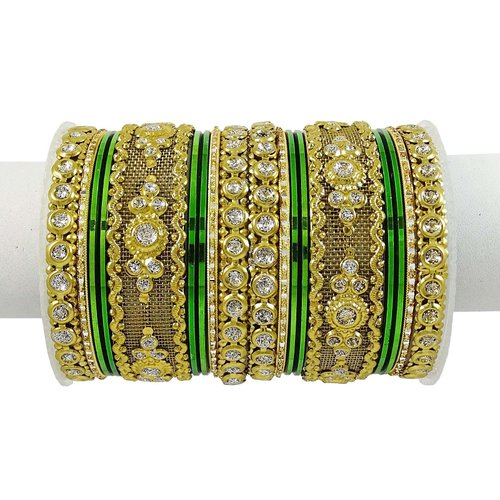 Goldtone 18 Pcs Bridal Churi Set Jewelry Bollywood Traditional Kangan Bangle 2*6 -BSB2939