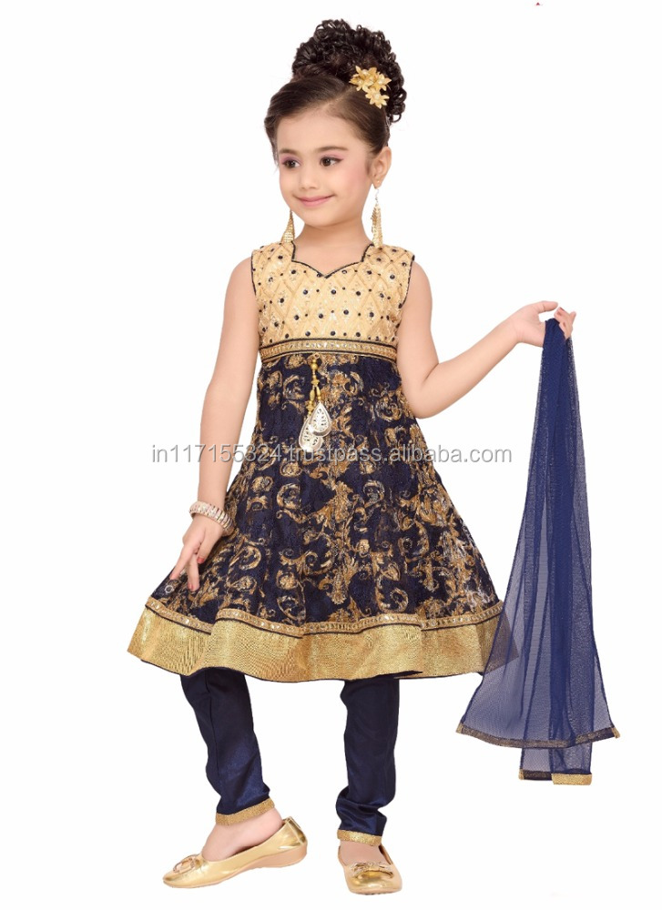 Girl party wear western dress children 2016 Kids Anarkali suits designs three piece party girls dresses girl party dress