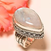 rainbow moonstone ring 925 sterling Silver Ring Jewelry
