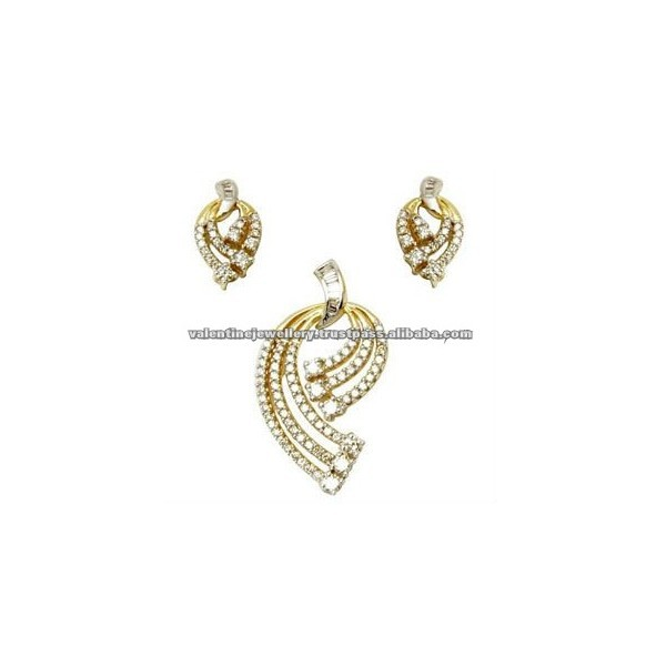 Gold diamond pendant set jewellery