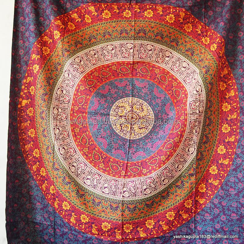Seis Color Chakra indio Mandala Twin Algodón Tapiz Decoración de ...