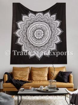 Lotus Flower Black White Printed Tapestries Cotton Bedspread Indian