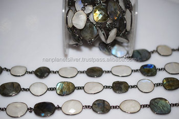 Labradorite And Rainbow Moonstone Bezel Connector Chain