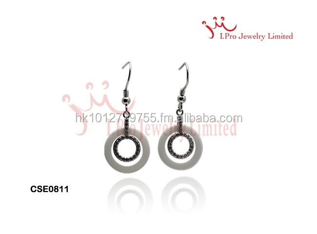 Double Circle Round white Silver Ceramic Earrings
