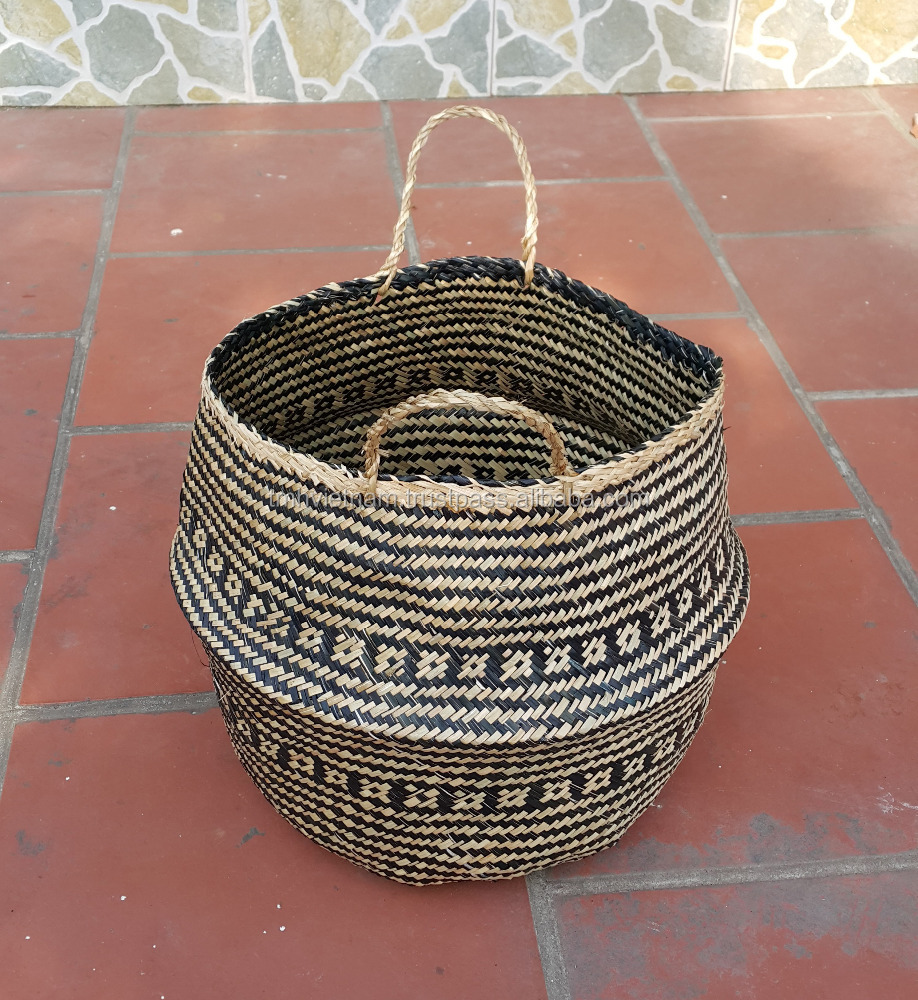 Black and natural color Seagrass belly basket