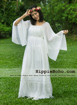 No.333 Xs S M L 1x 2x 3x 4x 5x White Butterfly Kimono Sleeve Gypsy Hippie  Bohemian Plus Size Summer Wedding Casual Dress Clothes - Buy Plus Size ...
