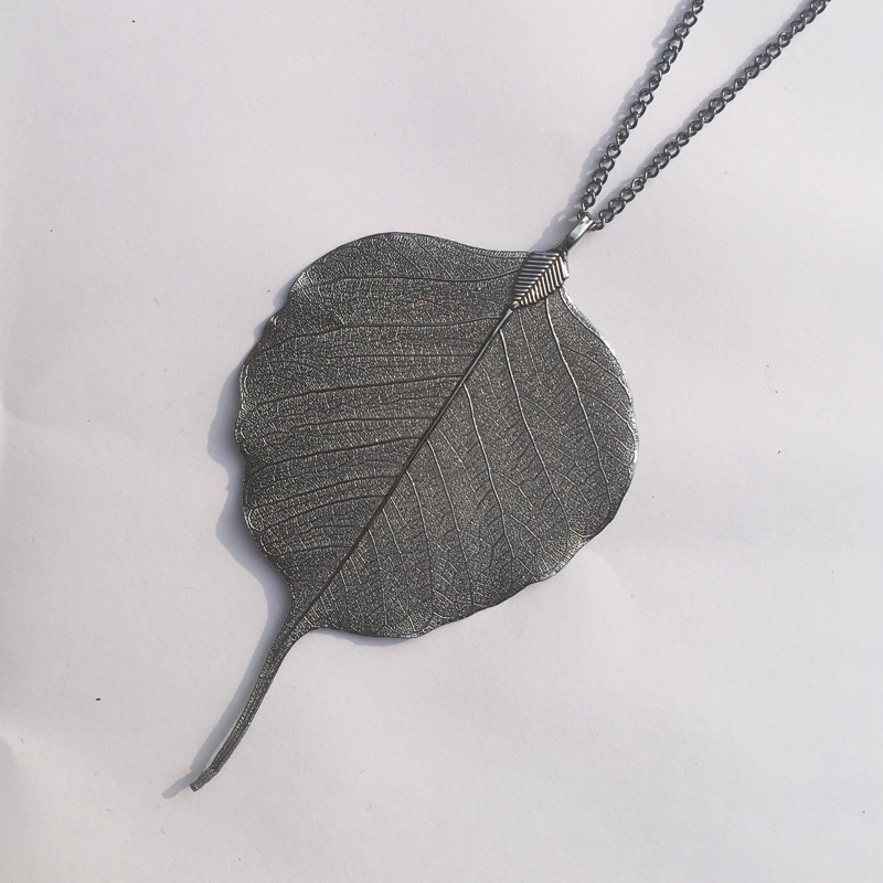 shop goldenleaf silver products glass nk leaf pendant vermeil gld jewelry necklace flor cw blanca gold
