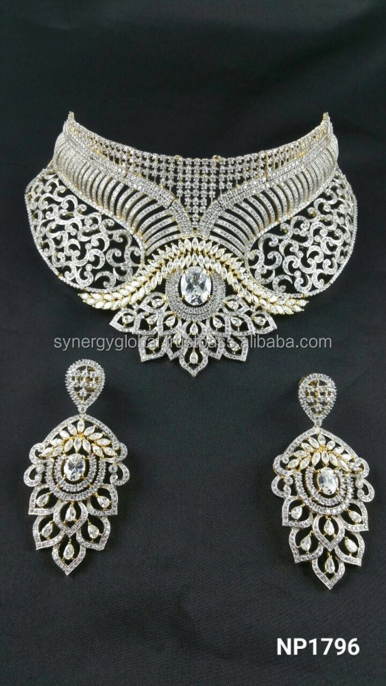 1cf28e049b8bc American Diamond CZ choker style bridal necklace set - Bollywood style  necklace set-African style jewelry Set- Indian imitation, View artificial  ...