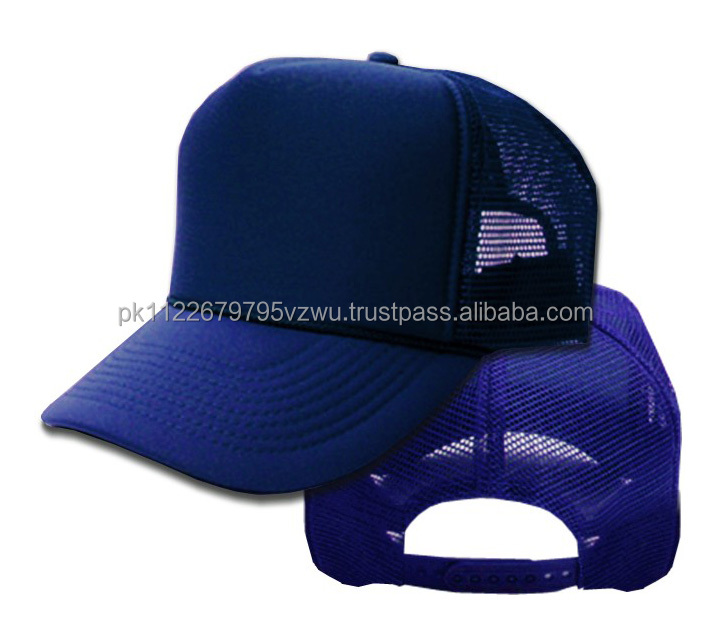 Top wholesale plian Two Tone Neon Trucker hat In Neon Blue Color