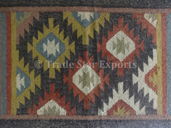 Ethnic Kilim Rug 2x3 Vintage Jute Indian Handmade Kelim Carpet
