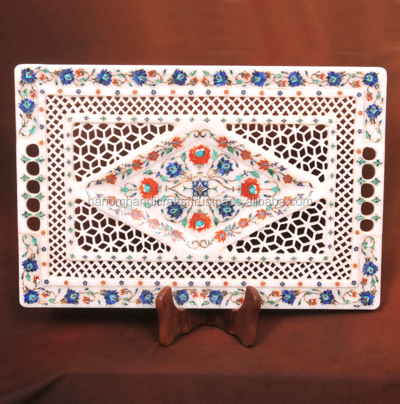 White Marble Inlay Lattice Work Tray Plate