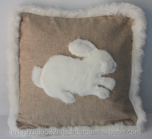 White Rabbit with Fur Printed Cushion Cover
