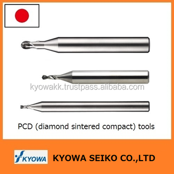 Spiral shape durable PCD end mill diamond cutter from Japanese manufacturer