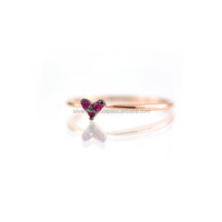 Solid 18k Gold Ruby Heart Ring, Couple Ring Jewelry