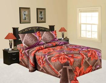 Luxury Cotton India Bedding Beautiful Elephant 3P Elegant Designer Bed Sheet  Raspberry Polka Deep Fitted Sheet