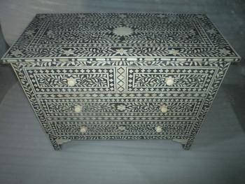 Indian U0026 Moroccan Style Camel Bone Inlay Sideboard U0026 Drawer Chest Cabinet  (Bone U0026 Mother