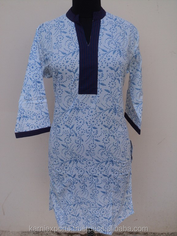 Ladies fashion wear tunic kurtis / 100% cotton block printed ethnic blouses tunic top's
